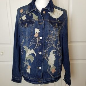 Bandolino Jean Jacket Embroidered Leaves Floral M
